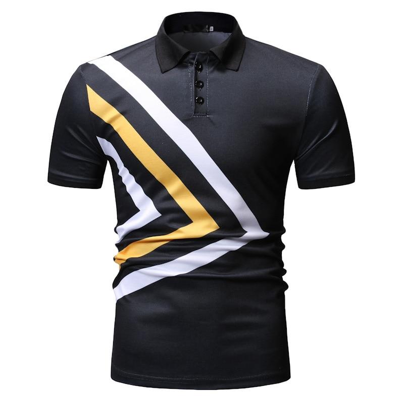 Nouveau code européen à manches courtes hommes polo chemise triangulaire couleur-impact imprimé revers hommes lâche polos livraison gratuite