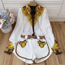 Baogarret Spring Summer Fashion Luxury Women 2019 Embroidery Lantern Sleeve White Shirt Tops + Shorts Two Piece Set Suit