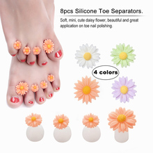 8pcs/Set Silicone Toe Separators Foot Toe Spacers for Home and Salon Use Daisy Flower Shaped Pedicures DIY Nail Art Tools