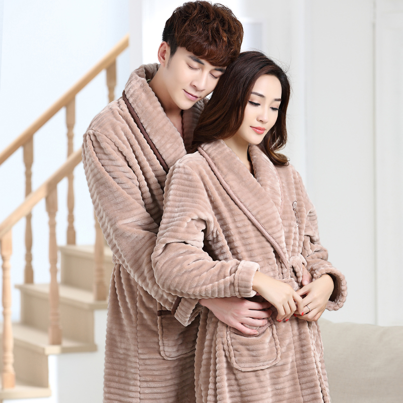 2019 100% Coral Fleece Couples Bathrobe Thick Flannel Bathrobe ... b70e403de