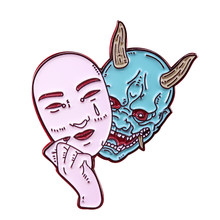 Hannya mask brooch horror demon woman pin Japanese culture inspired jewelry(China)