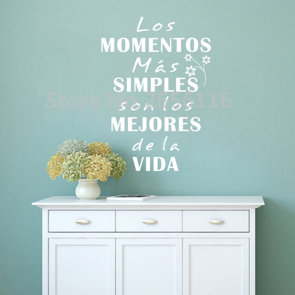 Spanish Quotes Mural Stickers Los Momentos Mas Simples Vinyl Wall Decals for Home Decor in Wall Stickers from Home Garden