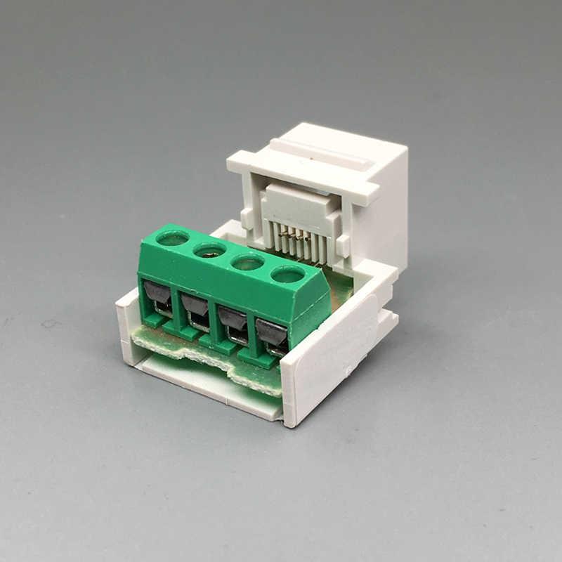 Cat3 rj11固く絞っワイヤーキーストーン電話モジュール4ライン電話スロットコネクタ