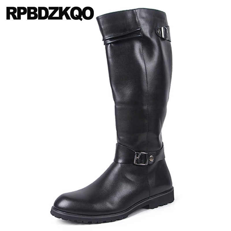 bb05cbaf760 Motorcycle British Style Knee High Zipper Riding Plus Size Mens Leather  Tall Boots Waterproof Winter Mid Calf Shoes Big Brown