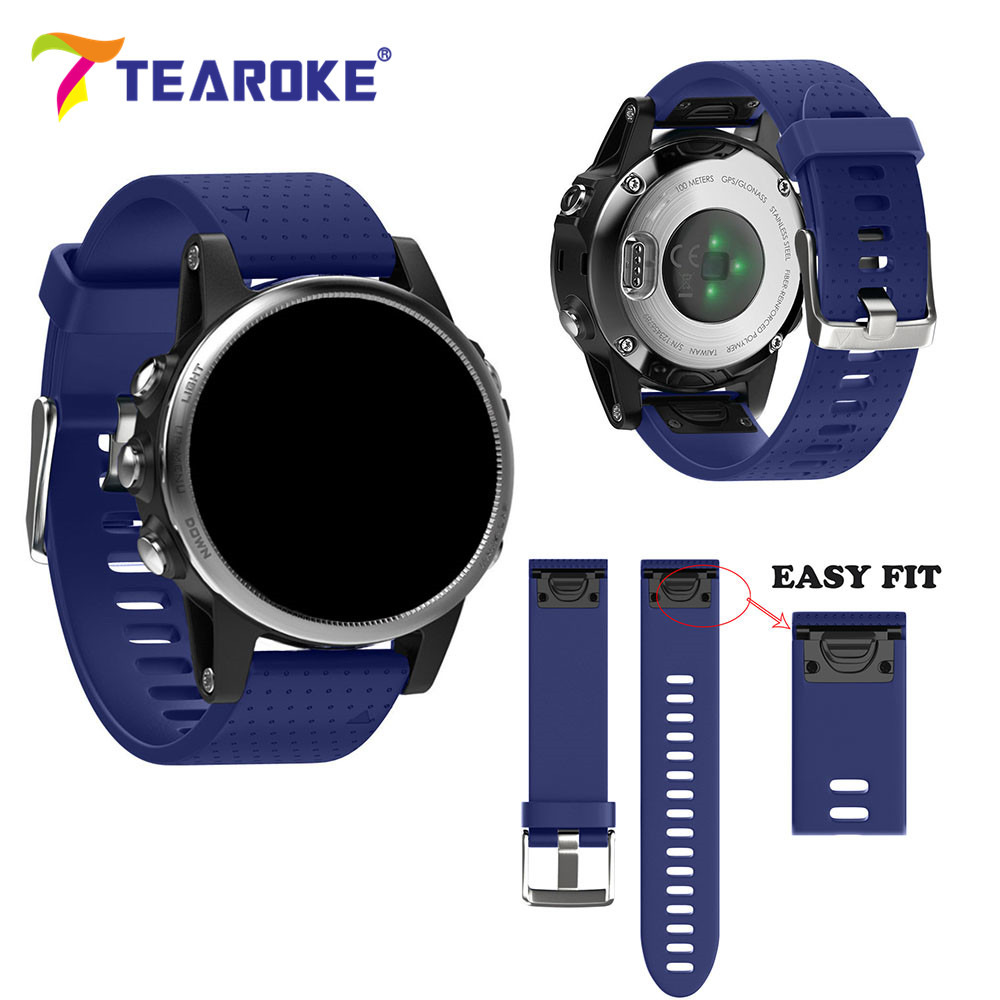 TEAROKE 20mm Replacement Bracelet for Garmin Fenix 5S Quick Release 11 Colors Soft Silicone Band for Fenix5S Sport Band Strap 22mm woven nylon strap replacement quick release easy fit band for garmin fenix 5 forerunner935 approach s60