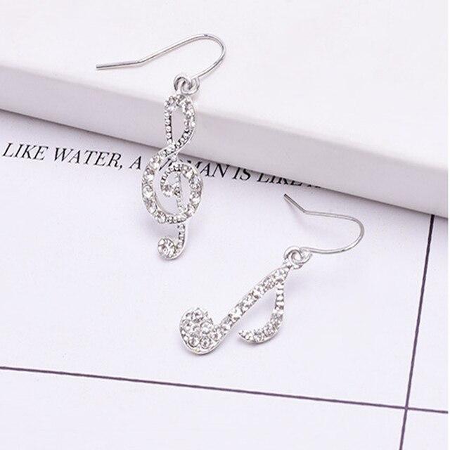 Asymmetric Personality Trendy Music Notes Ear Hook Crystal Silver Color Rhinestone Earring Women Accessory Lady Dangle Earrings