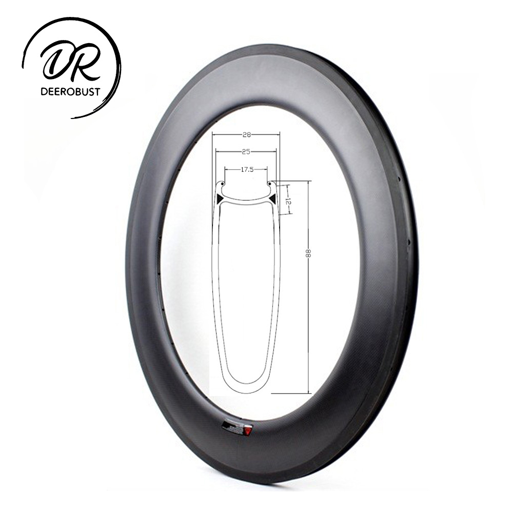 700c 88mm deep 25mm wide U Shaped Carbon Clincher Road Bike Rims Time Trials Bicycle Rim Triathlons Wheel UD 3K 12K Twill Matte700c 88mm deep 25mm wide U Shaped Carbon Clincher Road Bike Rims Time Trials Bicycle Rim Triathlons Wheel UD 3K 12K Twill Matte
