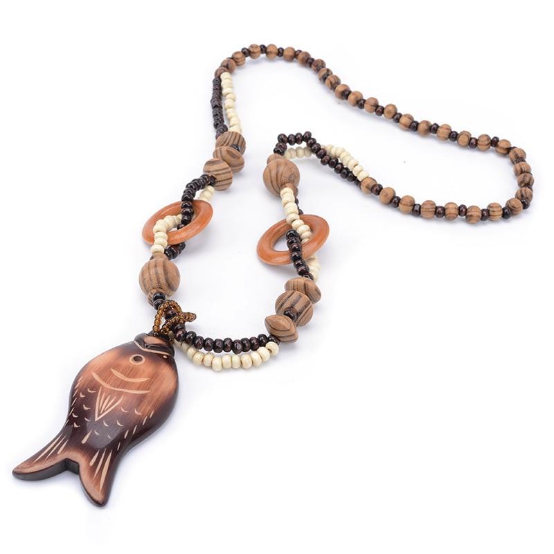Bohém Retro Nemzeti Szélgyöngy medálok nyaklánc fából készült kézzel faragott hal Policiklikus nyaklánc ékszerek Karácsonyi ajándék