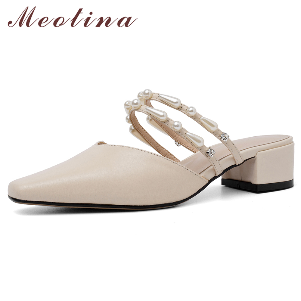 Meotina Women Sandals Summer Mules Shoes Natural Genuine Leather Chunky Heel Shoes Pearl Square Toe Slides Ladies Big Size 34-43Meotina Women Sandals Summer Mules Shoes Natural Genuine Leather Chunky Heel Shoes Pearl Square Toe Slides Ladies Big Size 34-43