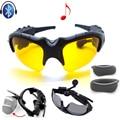 Óculos De Sol Noite Óculos De Fone De Ouvido Bluetooth Estéreo sem fio do Fone de ouvido Fone De Ouvido + 2 pcs Noite Lente De Óculos De Sol Frete Grátis