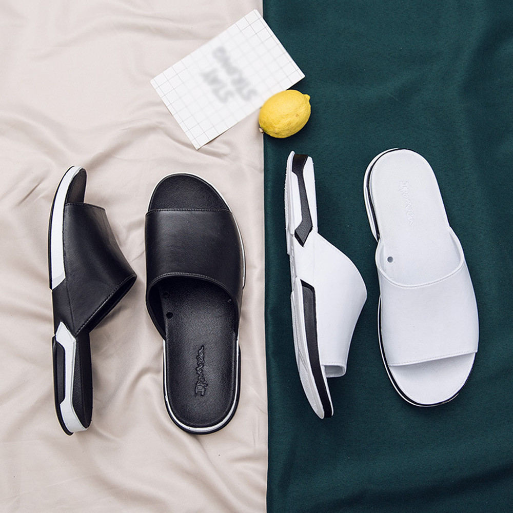 SA40 Casual Beach Breathable Men Slipper Sandals Summer Home Flat Flip Flops Shoes цена