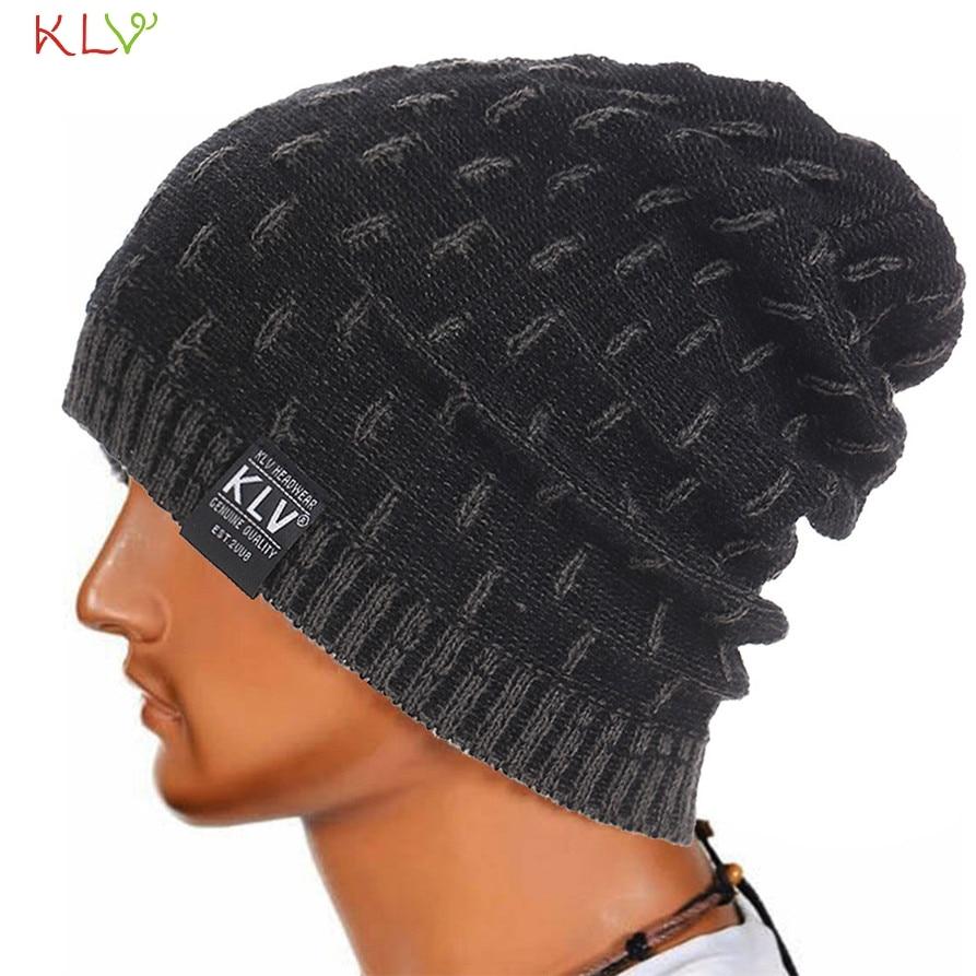 Skullies KLV Men Women Warm Crochet Winter Wool Knit Beanie Skull Slouchy Caps Hat Fashion WillBeen Feb28 Drop Shipping skullies