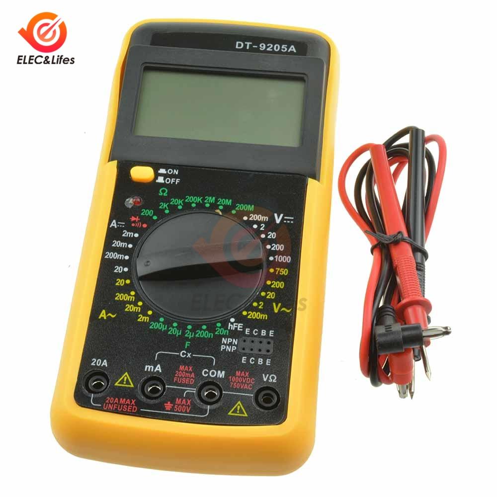 DT9205A Handheld LCD Digital Multimeter Electric Voltmeter Ammeter Tester Resistance Capacitance AMP Meter HFE AC/DC Test Probe