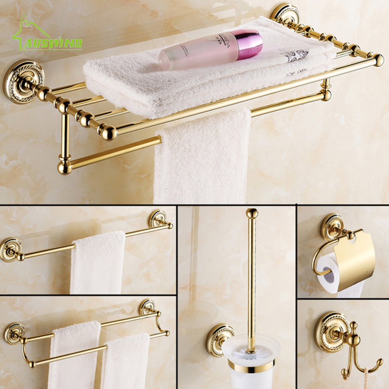Europe Antique Gold Bathroom Accessories Set Solid Brass Hardware Round Base Polished Bathroom