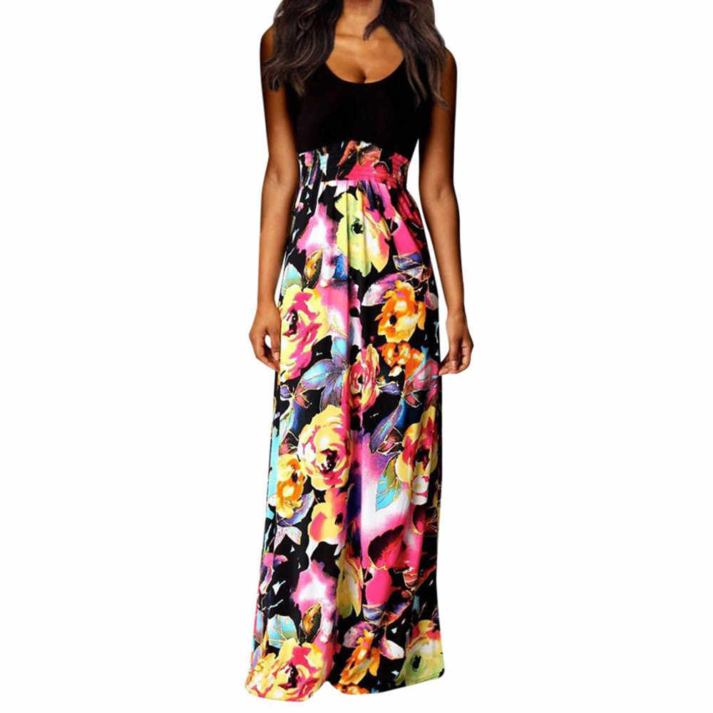 4066289ca526 2019 Boho Maxi Summer Dress Women Vintage Floral Printed Beach Long Party  Dresses Ladies O-