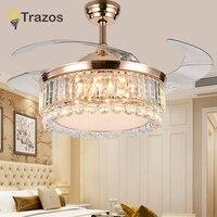 TRAZOS 42 дюймов светодио дный Золотой потолочных вентиляторов с огнями дистанционного Управление 220 В гостиной спальни дома потолочный светил