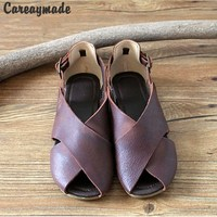 Hot 2015 New Genuine Leather Pure Handmade Fish Mouth Shoes The Retro Art Mori Girl Shoes