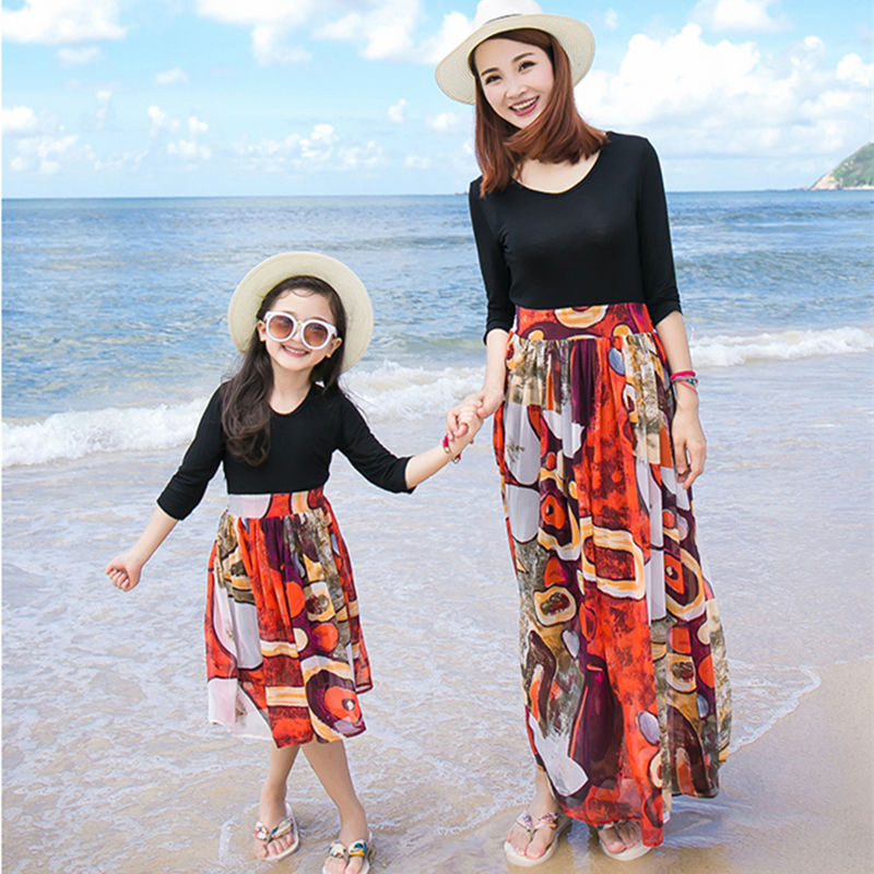 2017 Mother Daughter Dresses Bohemia Long Sleeve Family Look Matching Clothes Cotton Mom And Daughter Dress Family Clothing 2017 summer children clothing mother and daughter clothes xl xxl lady women infant kids mom girls family matching casual pajamas