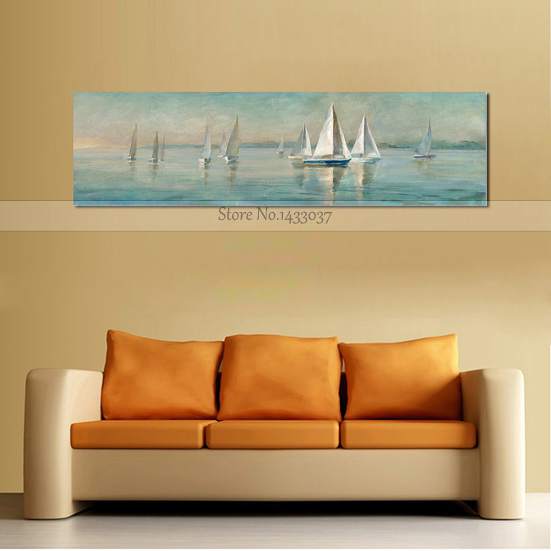 Modern Home Decor Wall Art Picture Hand Painted Sailboat Oil ...