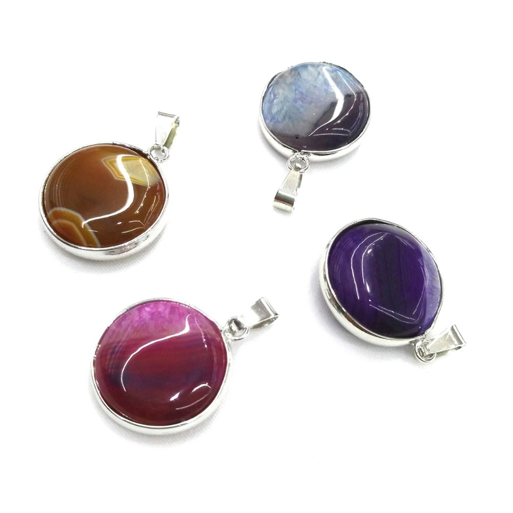 Round shape colorful agates charm pendants for jewelry making size 22x25mm