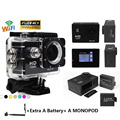 1080p WIFI Mini Action Camera 30M Waterproof Camera Sports HD DV Outdoor Video Recorder Action Cam 2pcs battery+Monopod
