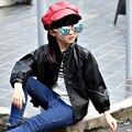 5 6 7 8 9 10 11 12 13 14 Años 2017 Nuevo la Primavera de invierno Niñas de Algodón Chaqueta de Moda Negro Faux Leather Girls Ropa Niños Ropa