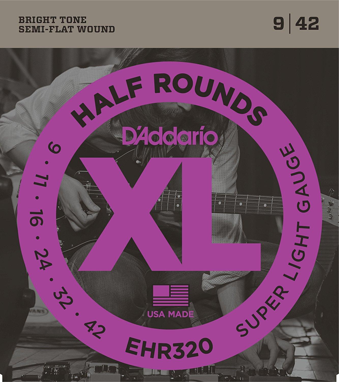 D'Addario EHR320 Half Round Electric Guitar Strings, Super Light, 9-42 savarez 510 cantiga series alliance cantiga normal high tension classical guitar strings full set 510arj