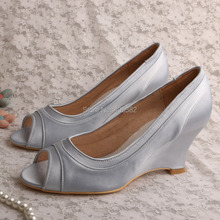Wedopus MW596 Silver Shoes Bridal Wedding Wedge Heel Peep Toe Dropshipping