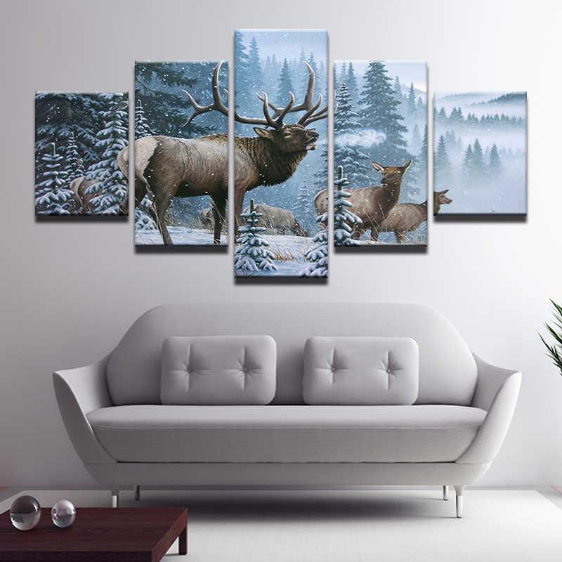 5 sztuk wydruki na płótnie Elk rodziny w śnieg sosna na płótnie malarstwo plakat do dekoracji domu zima moda Deer Wall Art dla pokoju gościnnego
