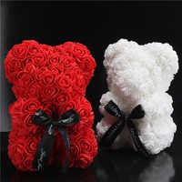 25 centímetros Bonito Urso Rosa Artificial Flores Rosa De Espuma Flor Artificial PE Presente Presentes de Natal para o Dia Dos Namorados Mulheres urso