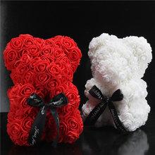 25cm słodki różany miś sztuczne kwiaty kwiat róży z pianki sztuczne świąteczne prezenty dla kobiet prezent na walentynki PE niedźwiedź