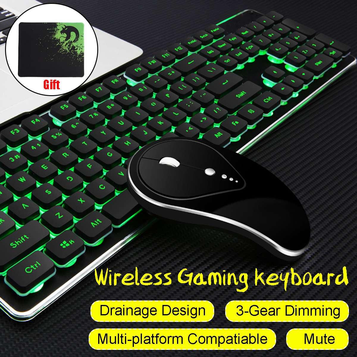 Clavier et souris de jeu sans fil rétroéclairé lumineux muet ensembles de jeu USB rechargeables ergonomiques avec tapis de souris pour PC Gamer