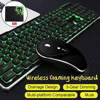 Luminous Mute Backlit Wireless Gaming Keyboard and Mouse Ergonomic Rechargeable USB Gaming Sets With Mousepad for PC Gamer