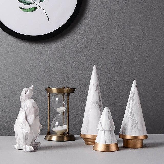 Us 10 44 5 Off Nordic Geometric Modern Ornaments Christmas Tree Ceramic Decoration Minimalist Living Room Desktop Craft Marble Pattern Home Dec In
