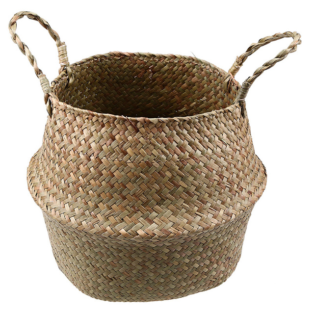WCIC Handmade Rattan Storage Basket Foldable Seagrass Straw Hanging Woven Garden Plant Flower Pot Handle Toy Storage Container