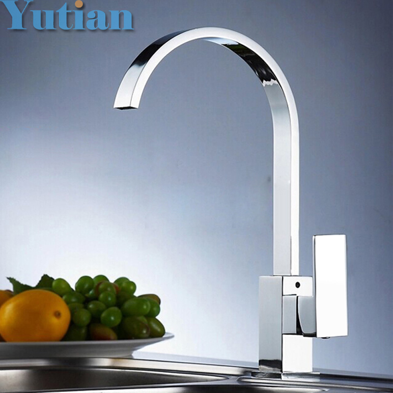 Free shipping Brass Quality Guarantee kitchen sink tap kitchen mixer square swivel Kitchen Faucets torneira YT
