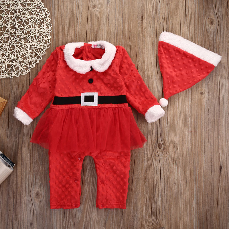 2Pcs Autumn/Winter Infant Baby Boys Girls Santa Claus Xmas Rompers+Hat Outfits Set Infant Babies Christmas Gifts Clothing