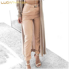 Luoanyfash Zipper casual pants 2017 New summer high waist suit pants women bottoms Belt female harem pants capri trousers