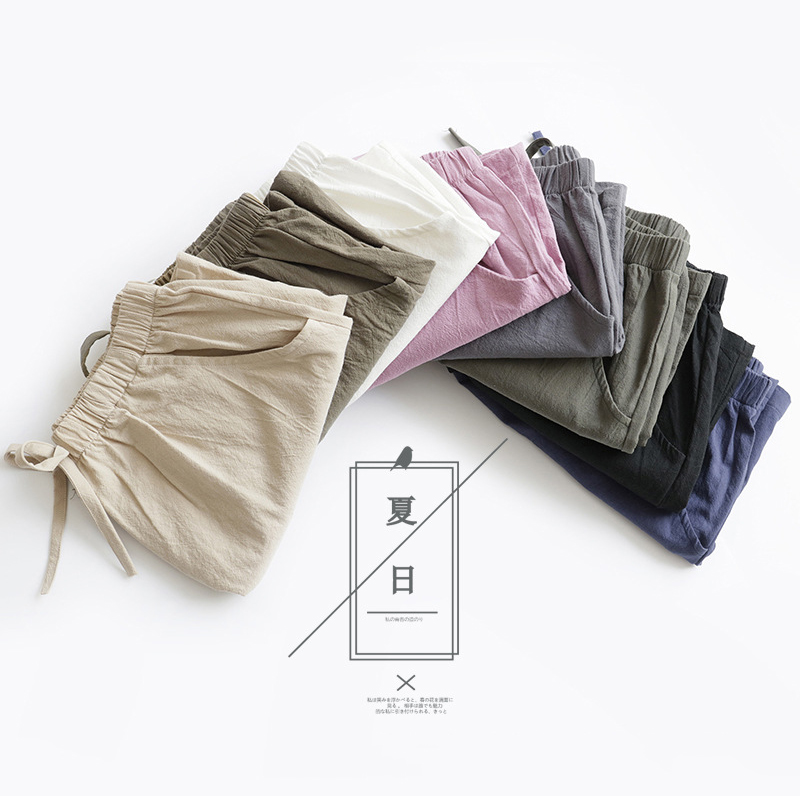 2020 Cotton Linen Shorts Women Summer Shorts Trousers Feminino Women's High Elastic Wasit Home Loose Casual Shorts With Pockets 3