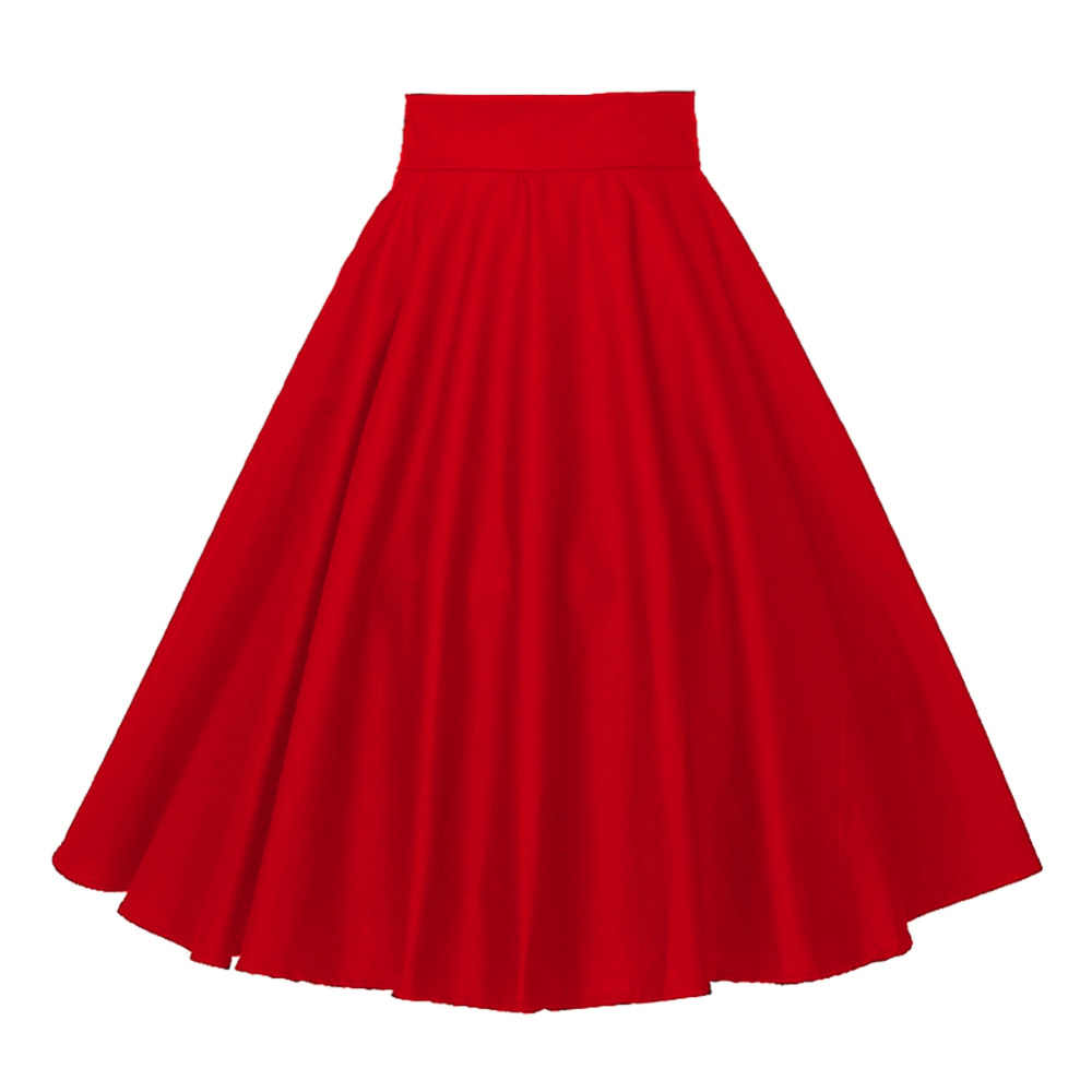 2523522a8e08 Plus Size Vintage Style High Waist Red Circle Midi Skirt Rockabilly Womens  Dance Cotton Full Skirt