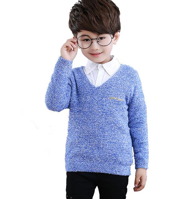 New Baby Boy Suéter de Marca ropa de Niños Ropa Casual Suéteres Gruesos Suéteres Niños's Con Cuello En V Jersey de Punto Ropa de Niños