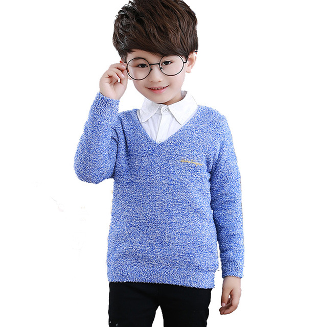 New Baby Boy Sweater Brand Casual Boys Clothes Sweaters Warm Thick Boys Sweaters Children's V-neck Knitted Sweater Kids Clothing