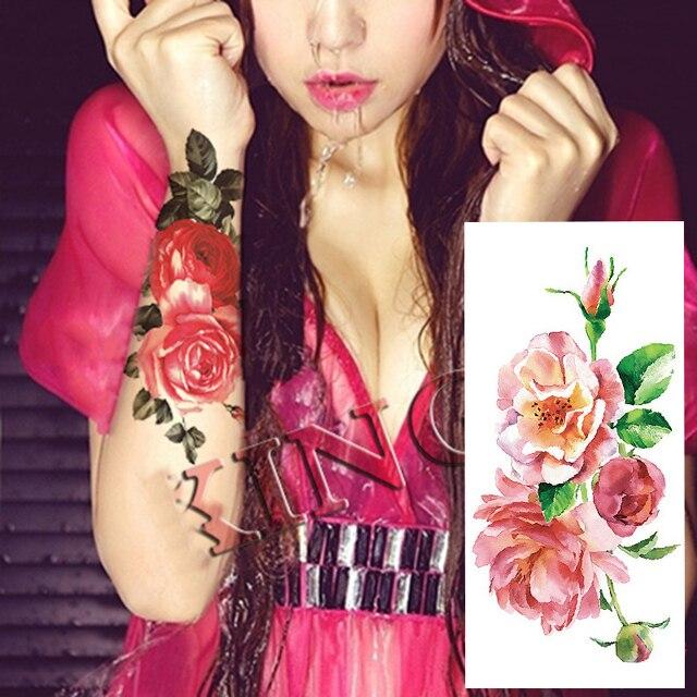 1 Pieza Tatuaje Temporal Pegatinas 25 Estilos Rosas Flores Rosa