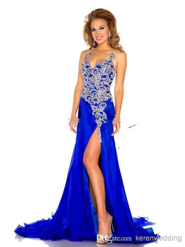 Charming Blue Formal font b Evening b font Gowns Sexy Halter Neck Corset High Side Slit