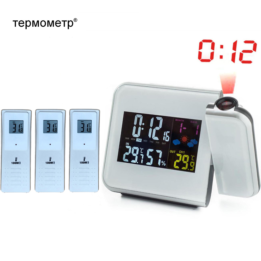 Digital Temperature Thermometer Wireless Weather Station Humidity Meter Hygrometer Table Desk Projection Alarm Clock Projector