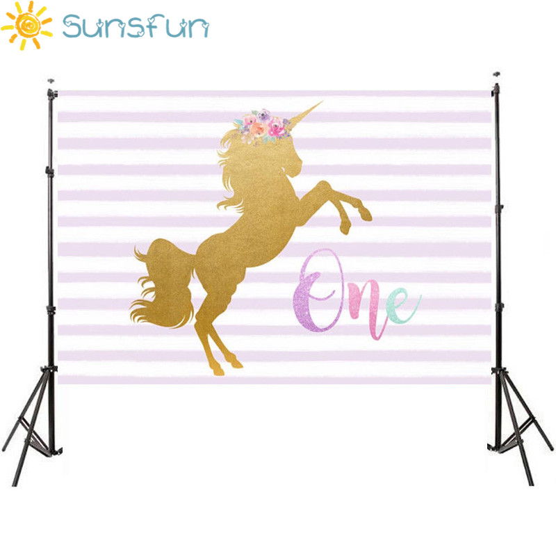Sunsfun 7x5FT Aquamarine First Birthday Party Gold Unicorn Pink and White Stripe Baby Shower Custom