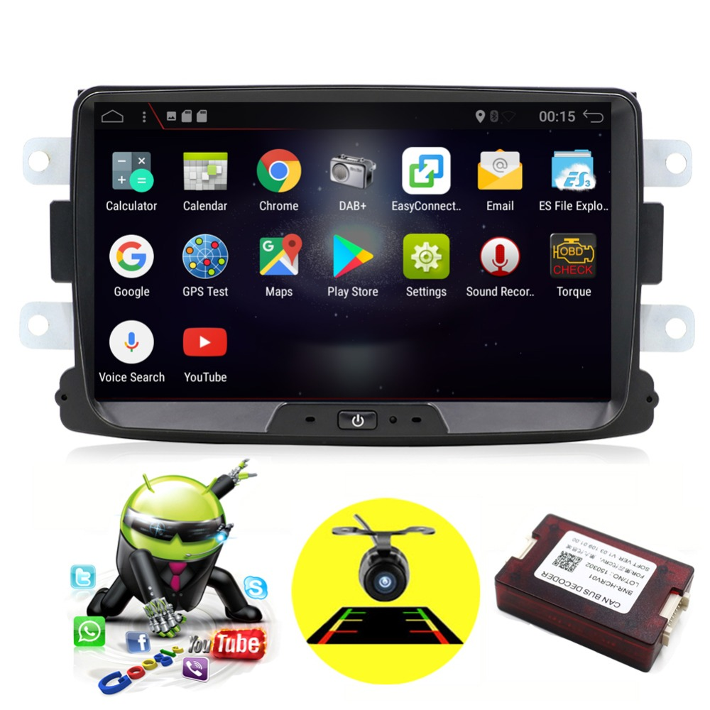 1 din Octa Cores Android 8.0/8.1 Radio car gps Navi For Duster Dacia Logan Sandero stereo Central radio Player