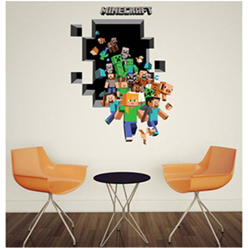 3d minecraft wall stickers for kids room wallpaper home for 3d decoration games