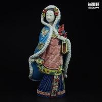 Shiwan кукла мастер тонкой древняя красота туры зимняя женская фигура ремесел керамические украшения домашнего интерьера украшения