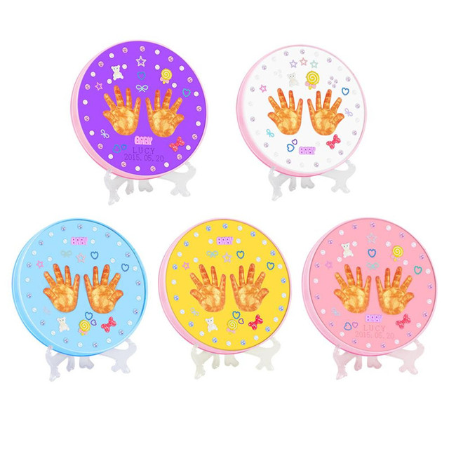 Baby Hand Print and Foot Print Clay Ink Paste Mud Infant Iron box Souvenir Set Innovative Commemorative Gift
